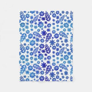 Blue China Hand Drawn Floral Pattern Fleece Blanket