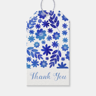 Blue China Hand Drawn Floral Pattern Gift Tags