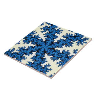 Blue China Snowflake Large Tile