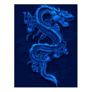 Blue Chinese Dragon Postcard