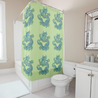 Blue Chinese Dragon Shower Curtain