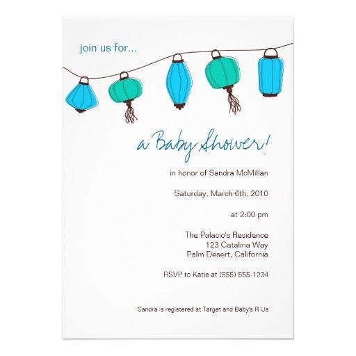 Blue Chinese Lanterns Invitations, 5x7