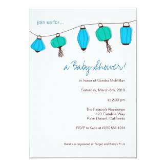 Blue Chinese Lanterns Invitations, 5x7 13 Cm X 18 Cm Invitation Card