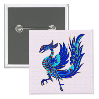 Blue chinese phoenix 15 cm square badge