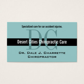 Blue Chiropractor Business Cards with Monograms