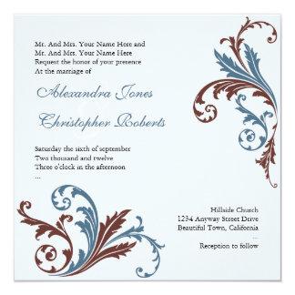 Blue & Chocolate Flower Swirls Damask Elegant Wedd Card