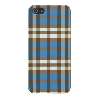 Blue/Chocolate Plaid Pern Case For iPhone 5/5S