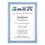 Blue Choo Choo Train Birthday Party Invitation
