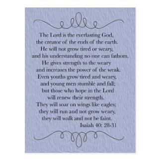 Blue Christian Bible Verse Postcard
