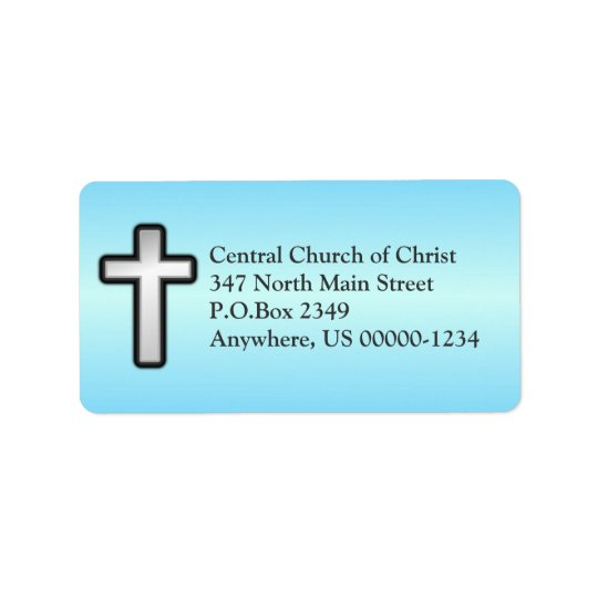 Blue Christian Cross Custom Address Label