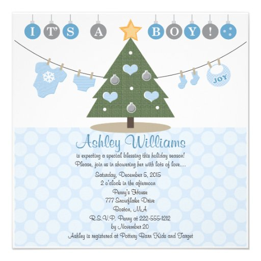 Blue Christmas Baby Shower Invitations