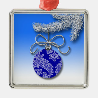 Blue Christmas Decoration Evergreen Tree Branch Silver-Colored Square Decoration