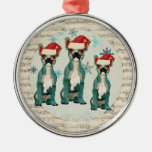 Blue Christmas French Bulldogs Snowflakes Ornament