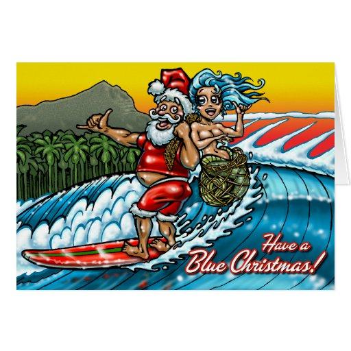 Blue Christmas Hawaiian Surf Greeting Card
