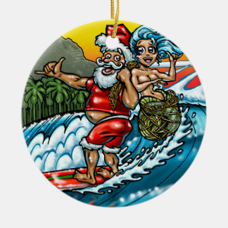 Blue Christmas Hawaiian Surfing Santa Illustration Ceramic Ornament