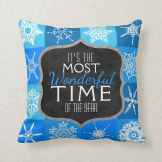 Blue Christmas Holiday Snowflakes Wonderful Time Cushion