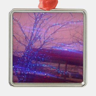 Blue Christmas lights Silver-Colored Square Decoration