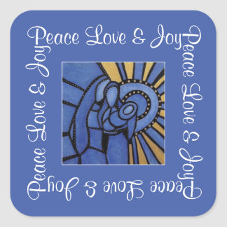 Blue Christmas Modern Holy Family Peace Love Joy Square Sticker