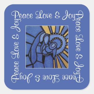 Blue Christmas Modern Holy Family Peace Love Joy Square Sticker