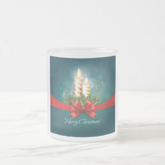 Blue Christmas Mug with candles