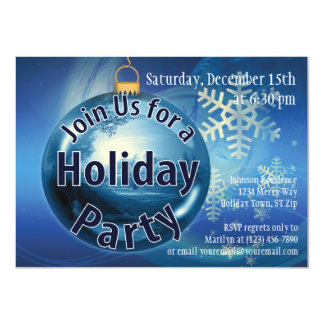 Blue Christmas Ornament Holiday Party Invitations