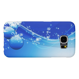 Blue Christmas Ornaments and Snowflakes Samsung Galaxy S6 Cases