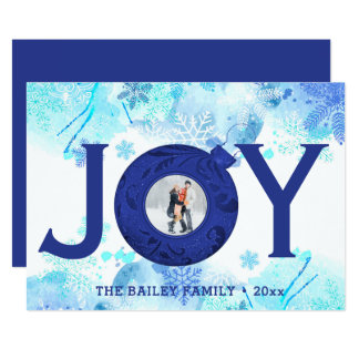 Blue Christmas Photo Snowflake Joy Greeting Card