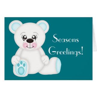 Blue Christmas Polar Bear Card