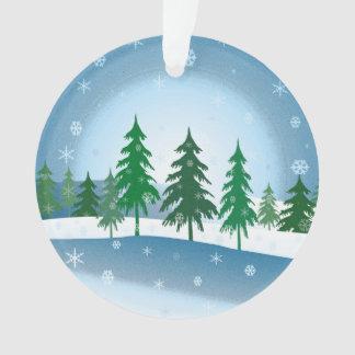 Blue christmas scene illustration ornament