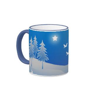 Blue christmas snow scene print coffee mug