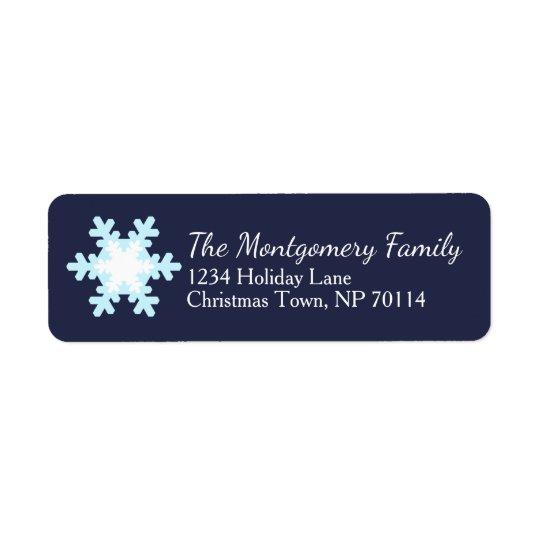 Blue Christmas Snowflake Family Return Address Label