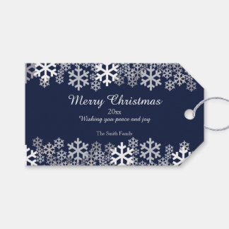 Blue Christmas Snowflakes Pattern Greetings Gift Tags