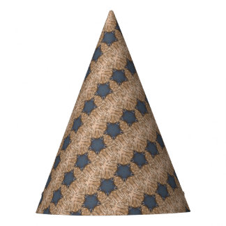 Blue Christmas Star Wicker Background Pattern Party Hat