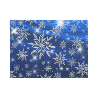 Blue Christmas stars with white ice crystal Doormat