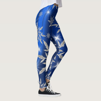 Blue Christmas stars with white ice crystal Leggings