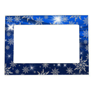 Blue Christmas stars with white ice crystal Magnetic Frame