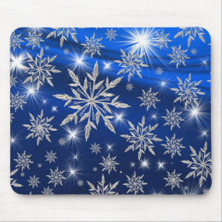 Blue Christmas stars with white ice crystal Mouse Pad