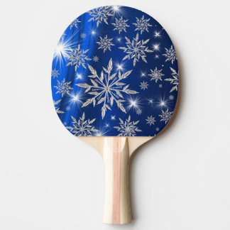 Blue Christmas stars with white ice crystal Ping Pong Paddle