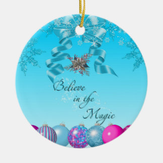 Blue Christmas Tags ornaments bow believe pink