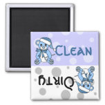 Blue Christmas Teddy Bear Clean Dirty Dishwasher Square Magnet