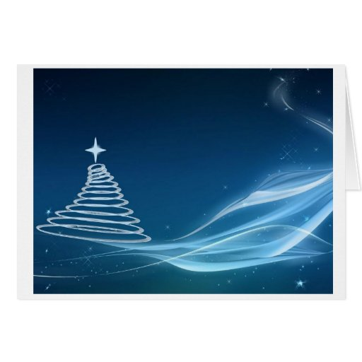 Blue christmas tree greeting cards