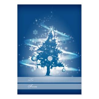 Blue Christmas Tree Christmas Gift Tag Business Card Templates