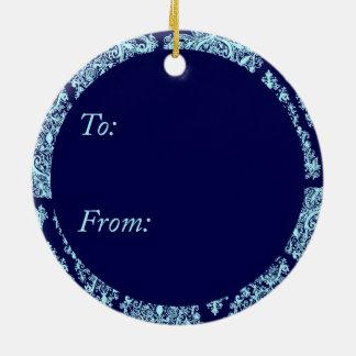 Blue Christmas Tree Circle Ornament