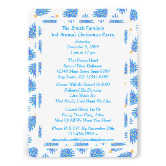 Blue Christmas Tree Colorful Holiday Pattern Invite