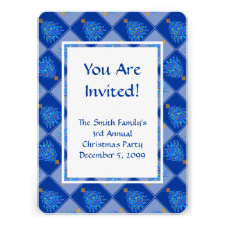 Blue Christmas Tree Colorful Holiday Pattern Custom Invite