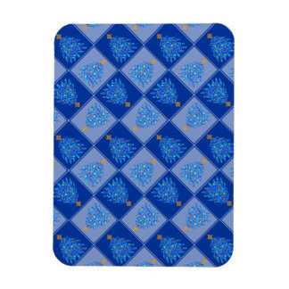 Blue Christmas Tree Colorful Holiday Pattern Rectangular Magnet