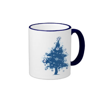 Blue Christmas Tree & Decorations Mug