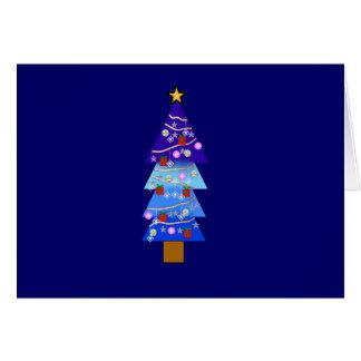 Blue Christmas Tree Fancy Greeting Card