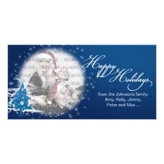 Blue Christmas Tree Happy Holidays Photo Personalised Photo Card