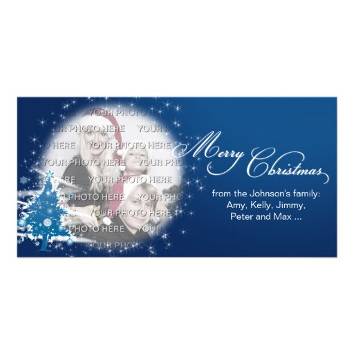 Blue Christmas Tree Merry Christmas Photo Card Template